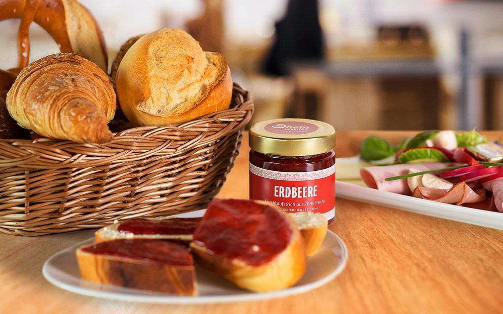 Teller mit Dhein Früchtchen Marmelade - Bäckerei Dhein